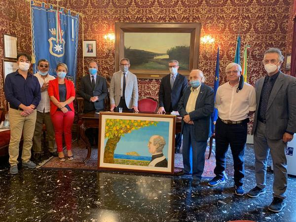 Maestro Madè consegna dipinto ricordo Beato Puglisi al Comune di Monreale